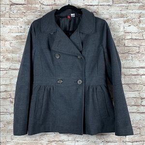 H&M Wool Blend Peacoat Peplum Gray Double Breasted